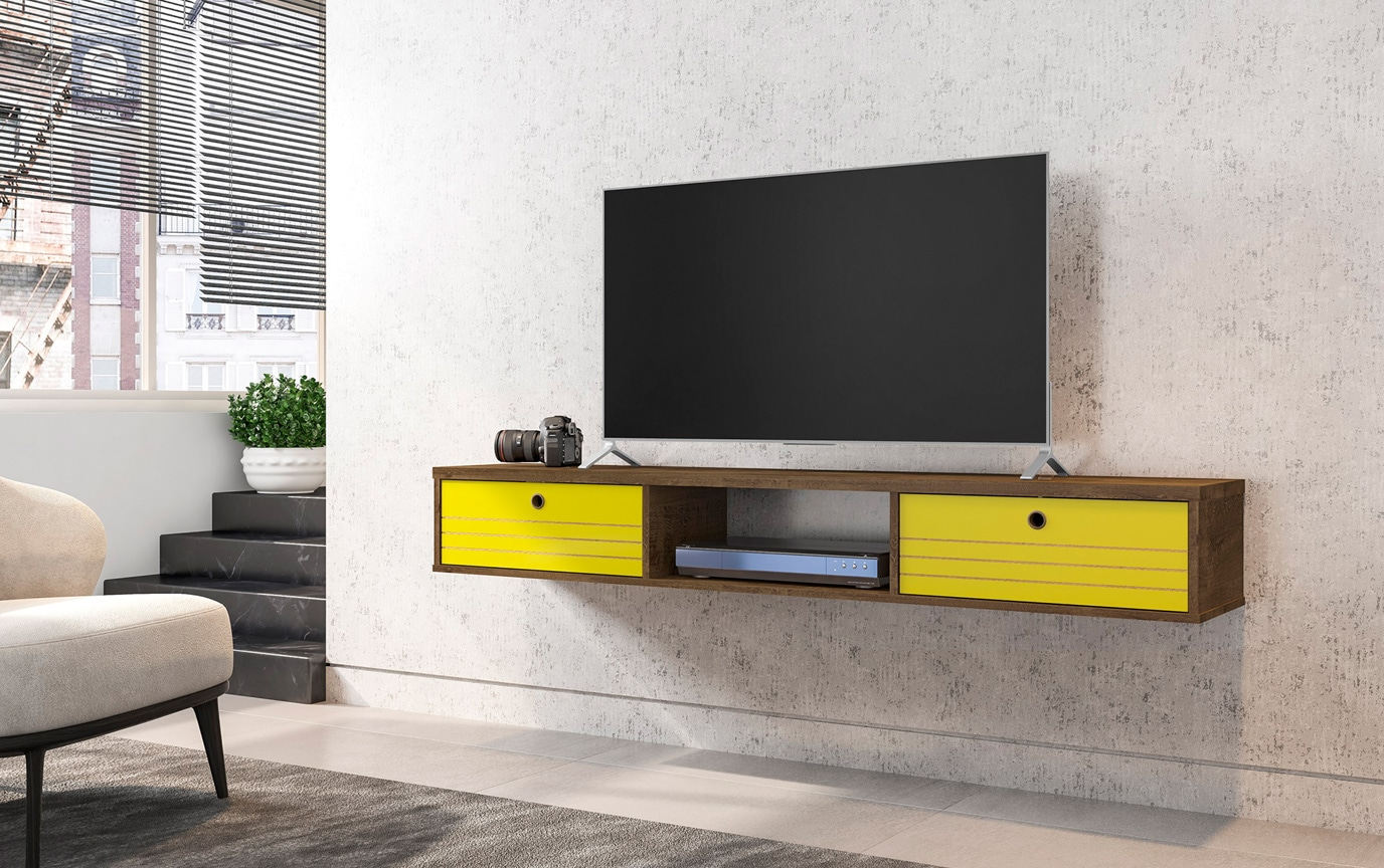 Shiloh Brown & Yellow Floating TV Stand