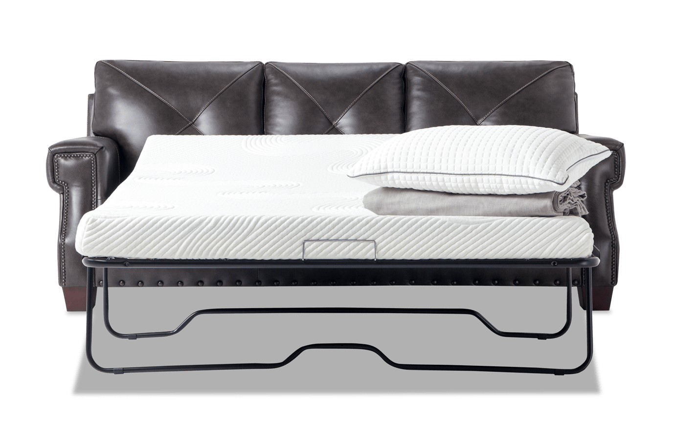 Kennedy Gray Leather Bob-O-Pedic Gel Queen Sleeper Sofa