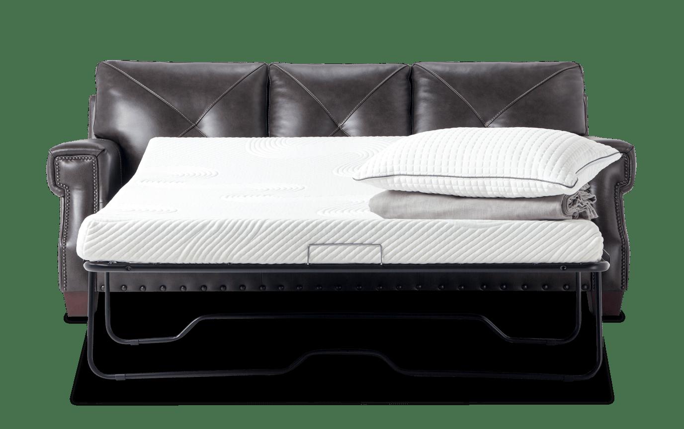 Kennedy Gray Leather Bob O Pedic Gel Queen Sleeper Sofa