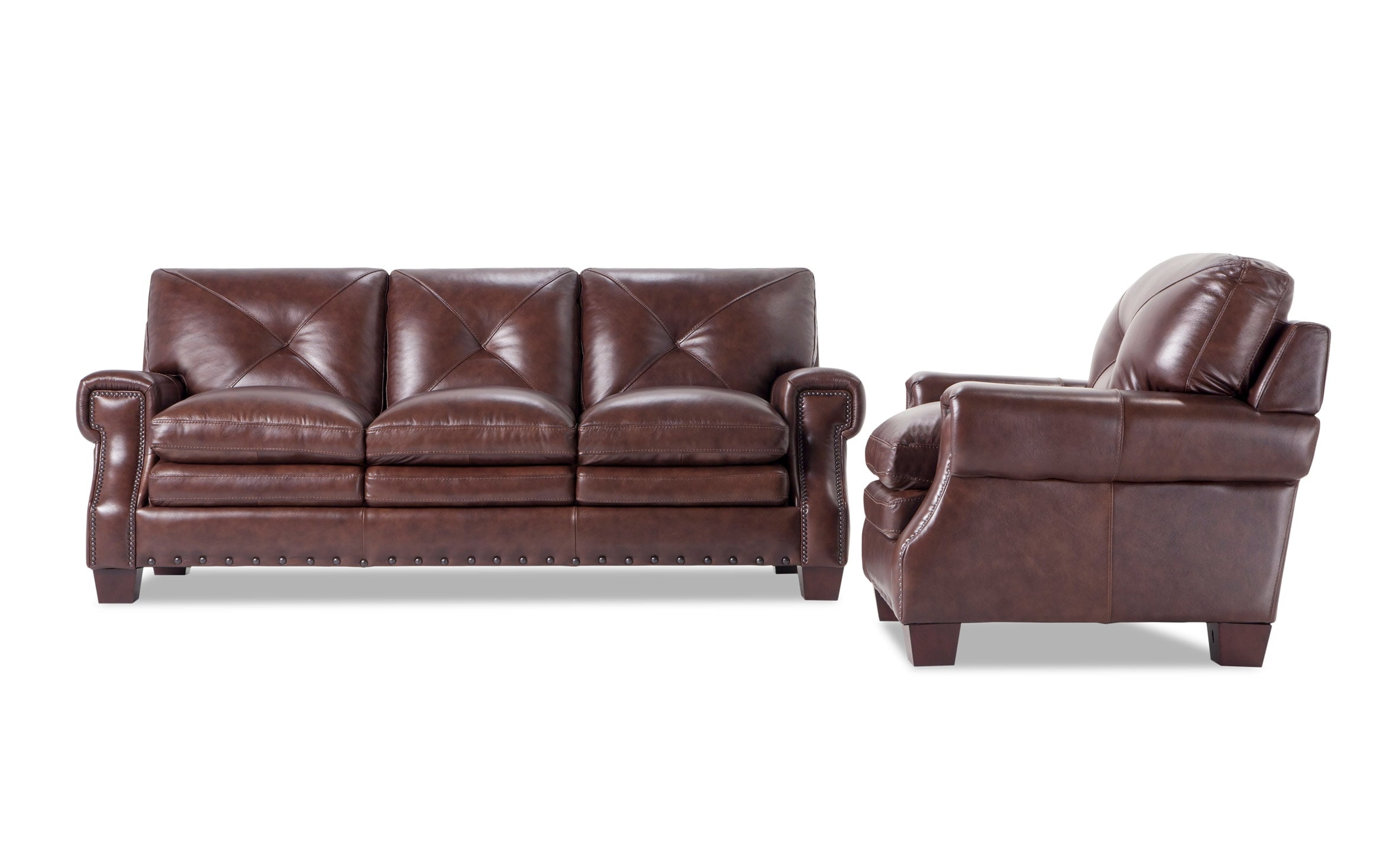 - Kennedy Brown Leather Sofa & Chair Outlet Bobs.com