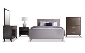 Copenhagen Queen Light Gray Upholstered Bedroom Set