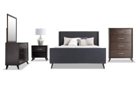 Copenhagen Full Onyx Upholstered Bedroom Set