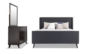 Copenhagen Twin Onyx Upholstered Bedroom Set
