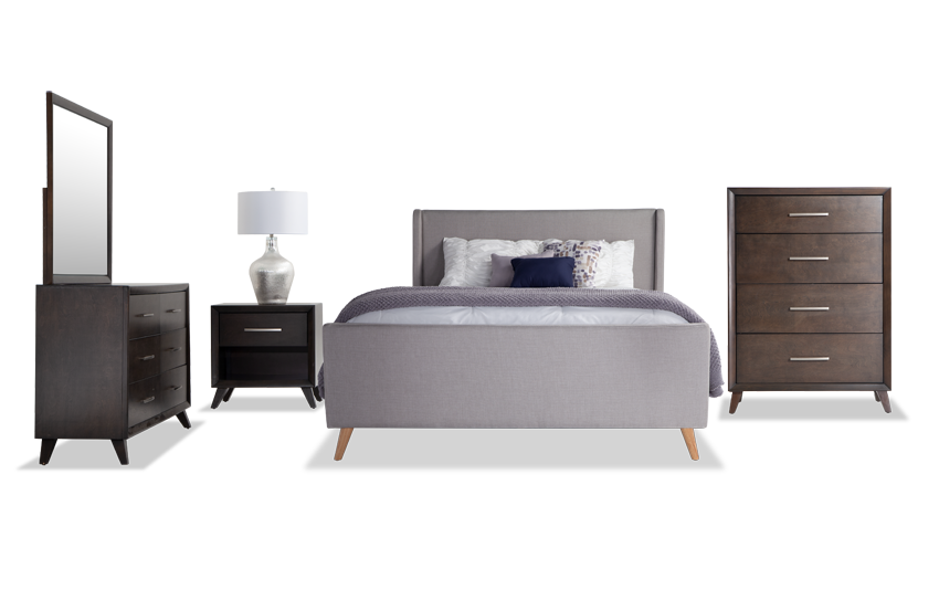 Copenhagen California King Light Gray Upholstered Bedroom Set