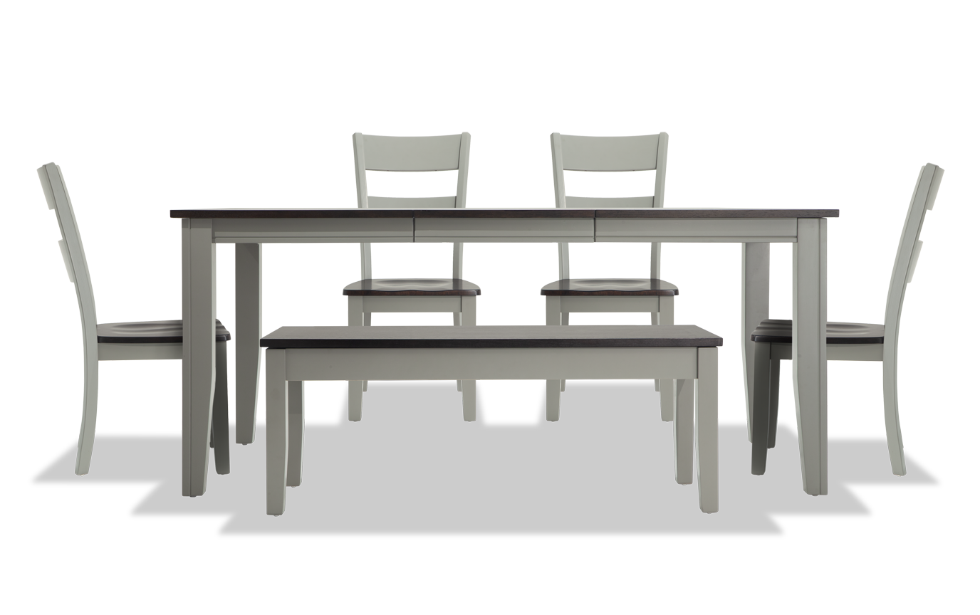 Excellent Blake Gray Chocolate 6 Piece Dining Set With Storage Bench Short Links Chair Design For Home Short Linksinfo