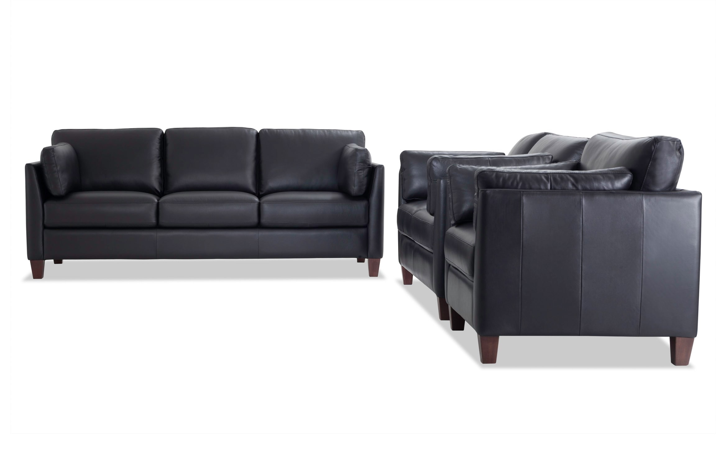 Black Leather Sofa Loveseat Chair