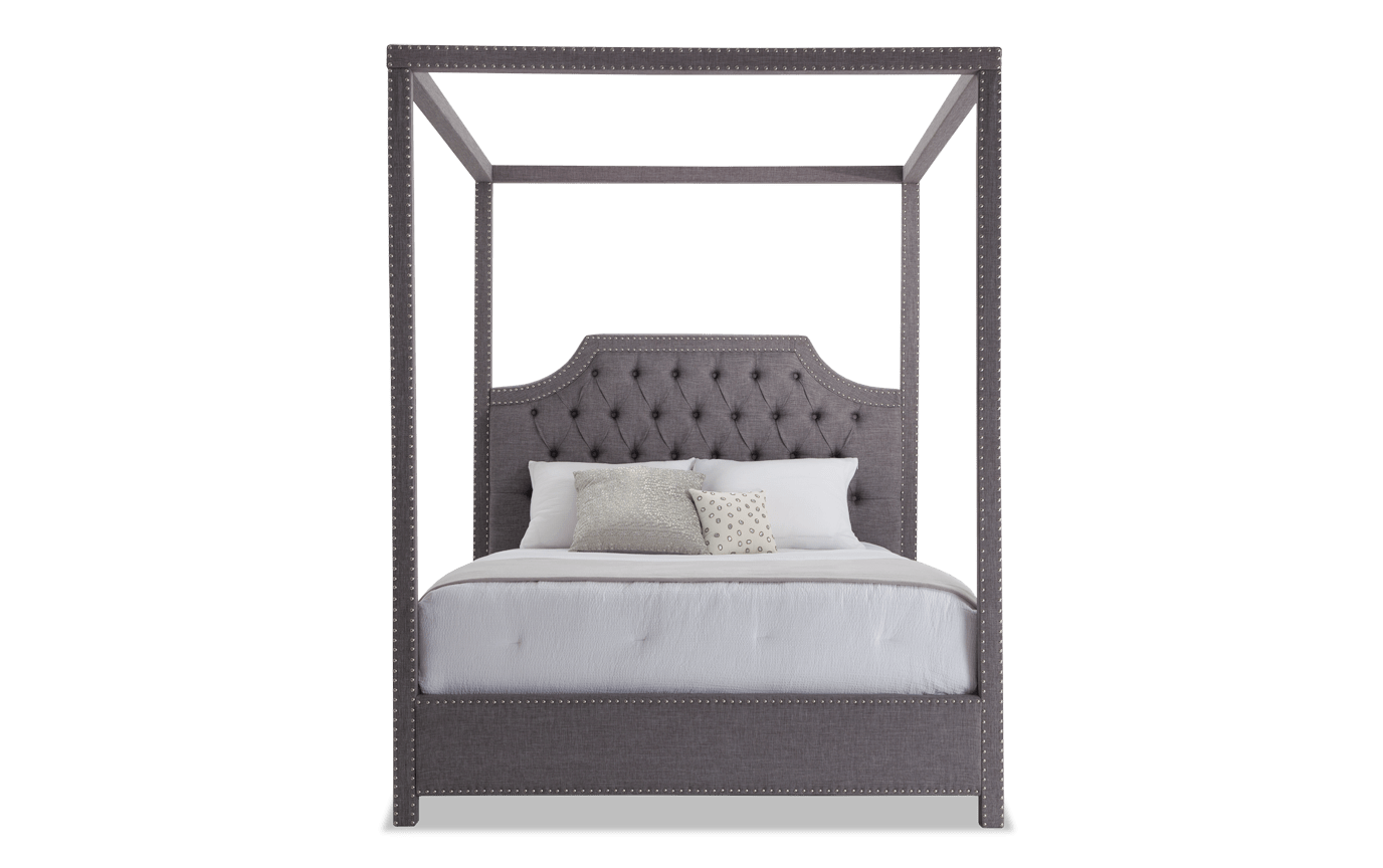 Picture of: Sutton Queen Gray Canopy Bed Bobs Com