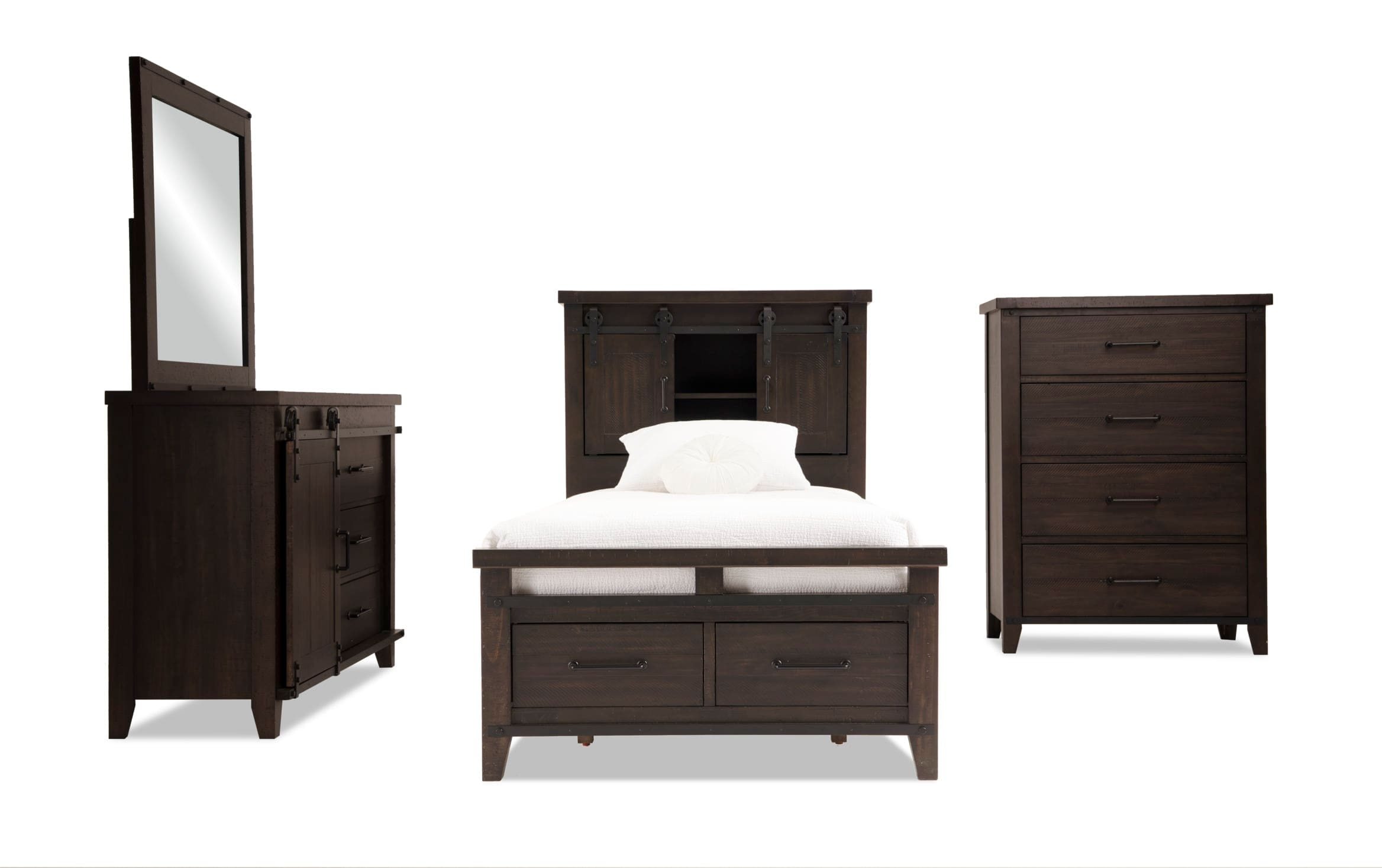 Montana Youth Twin Brown Bookcase Storage Bedroom Set Bobs Com