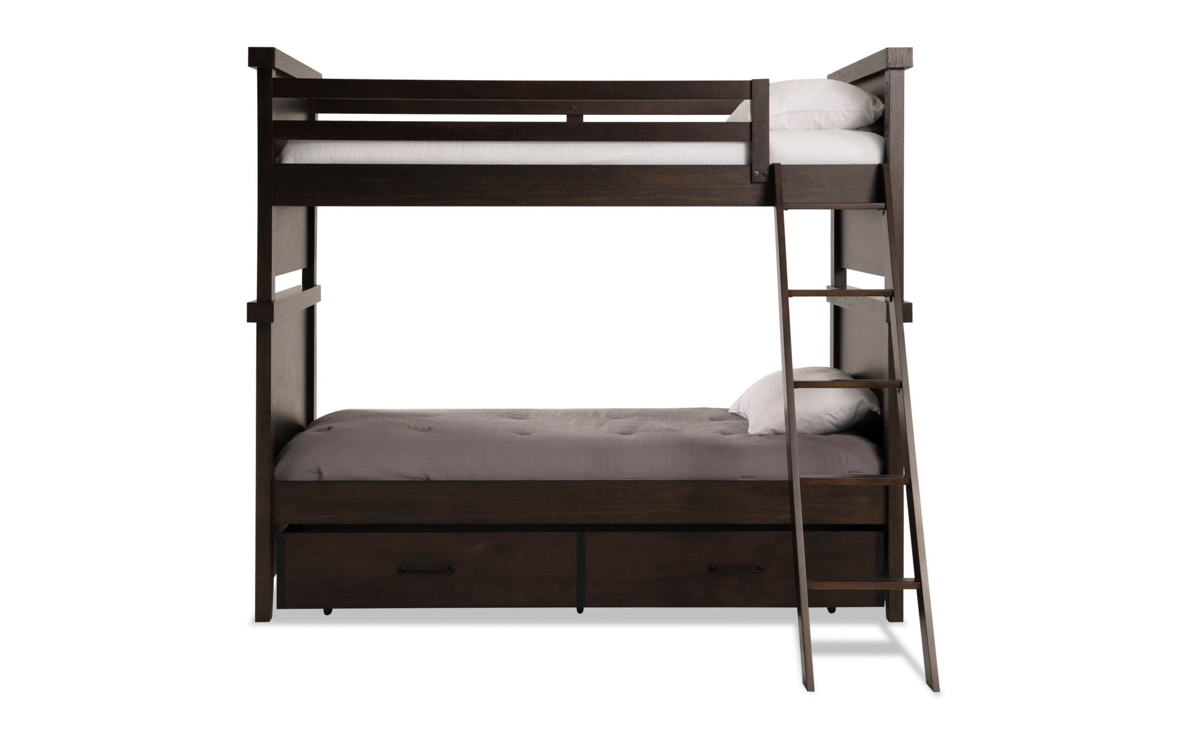 Montana Youth Twin Brown Bunk Bed With Trundle Bob S Discount Furniture