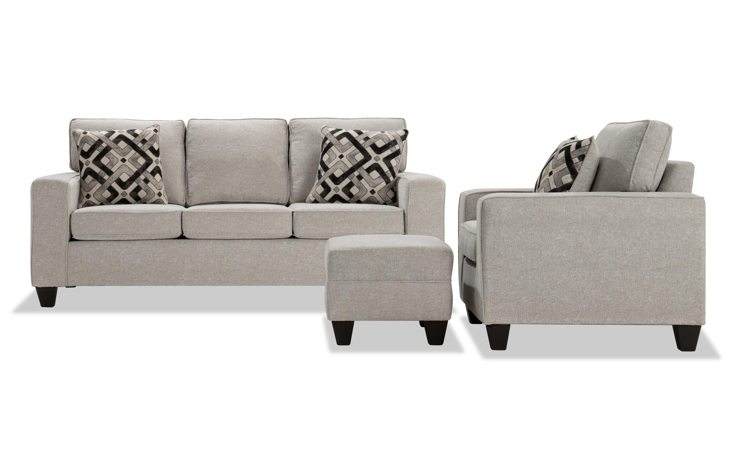 Bowie Beige Sofa Chair Ottoman