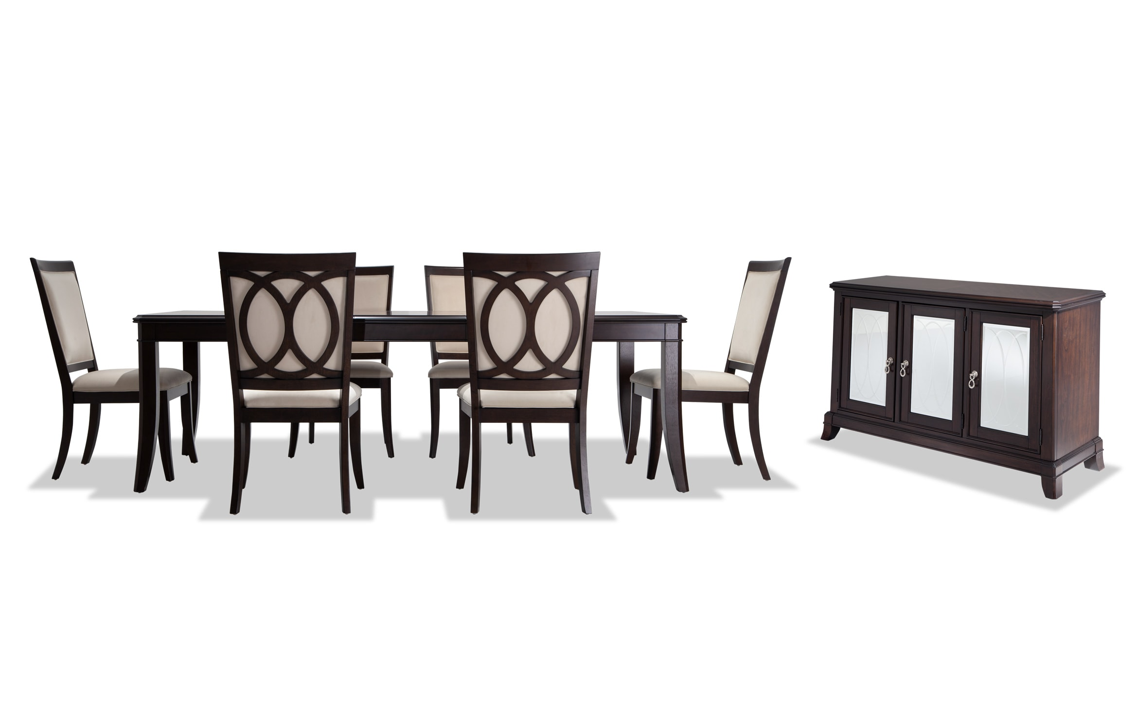 Coco 8 Piece Dining Set With Server, White Dining Room Table Seats 8
