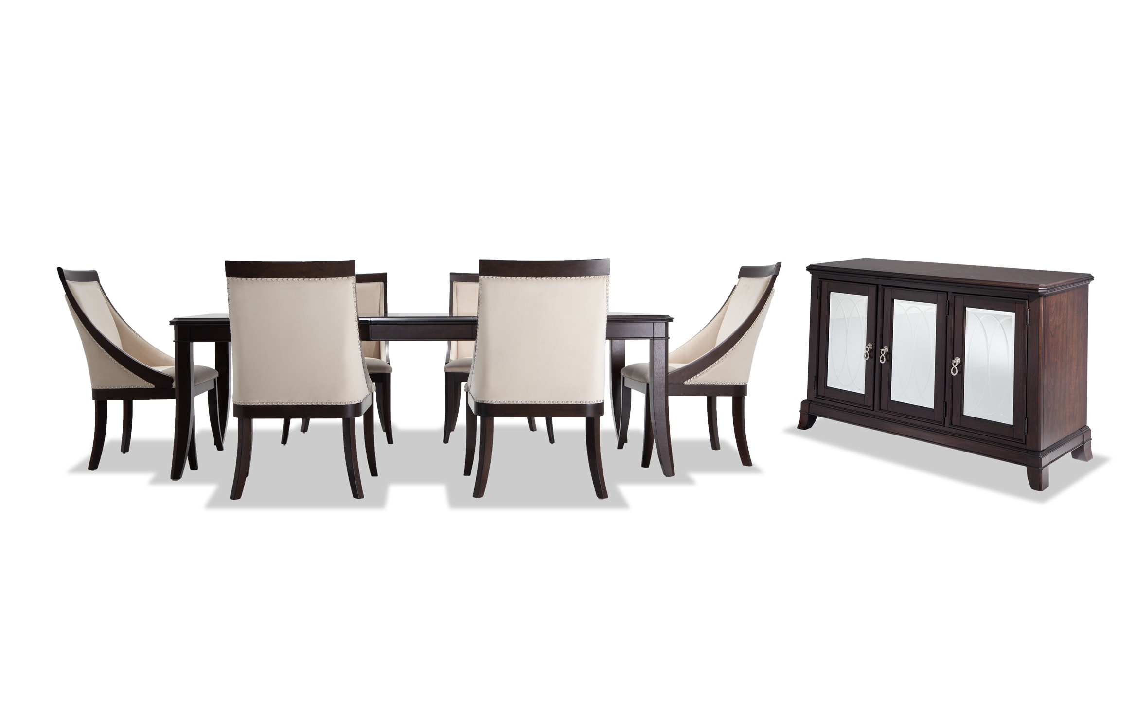 Coco 8 Piece Dining Set With Server Swoop Chairs Bobs Com