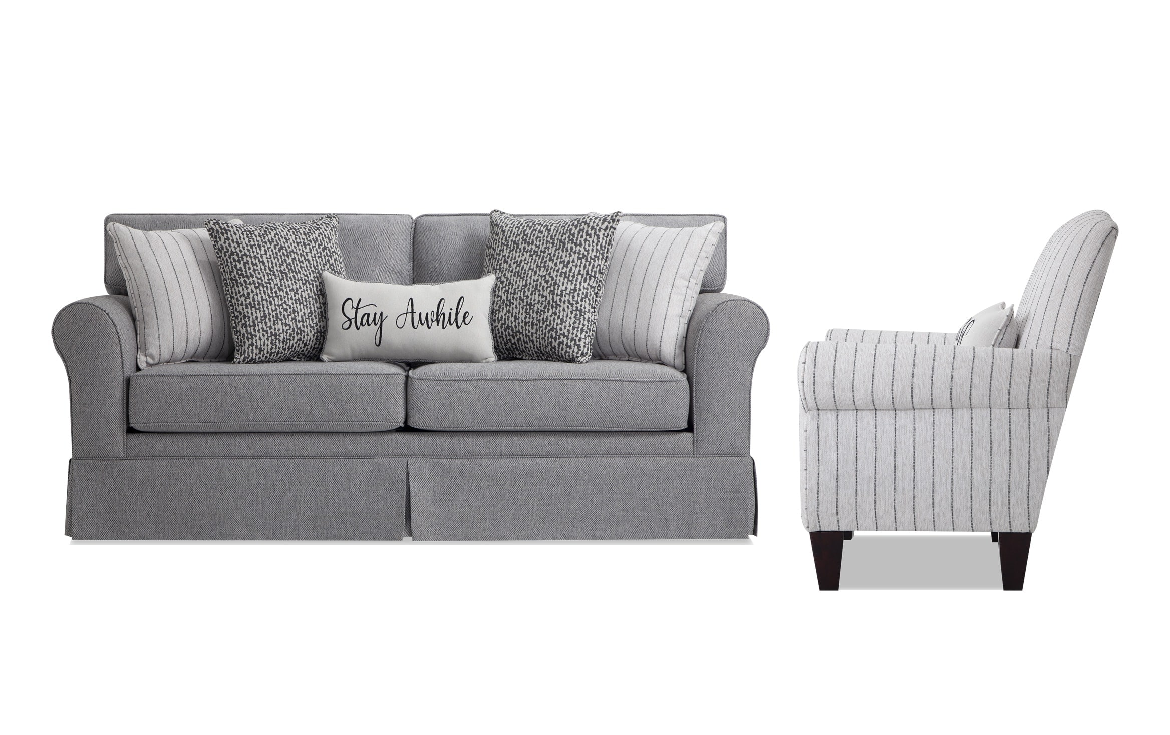 Laurel Gray Sofa & Accent Chair