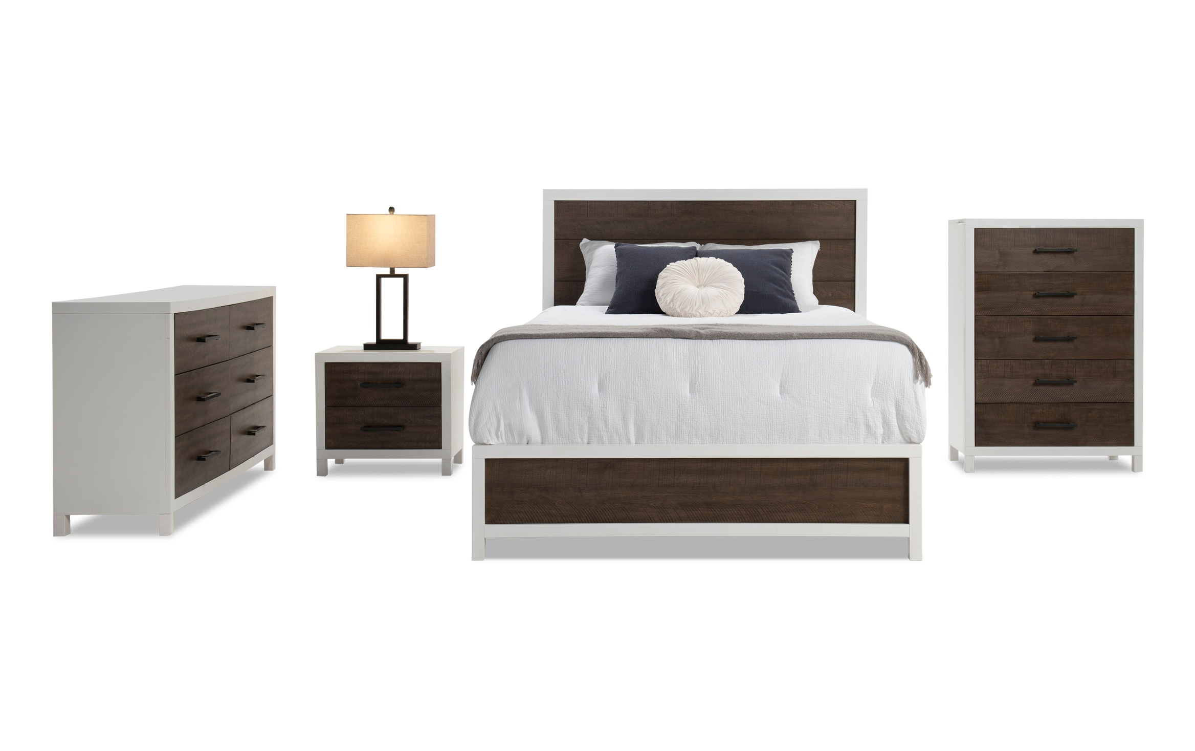 Fusion White & Brown Queen Bedroom Set
