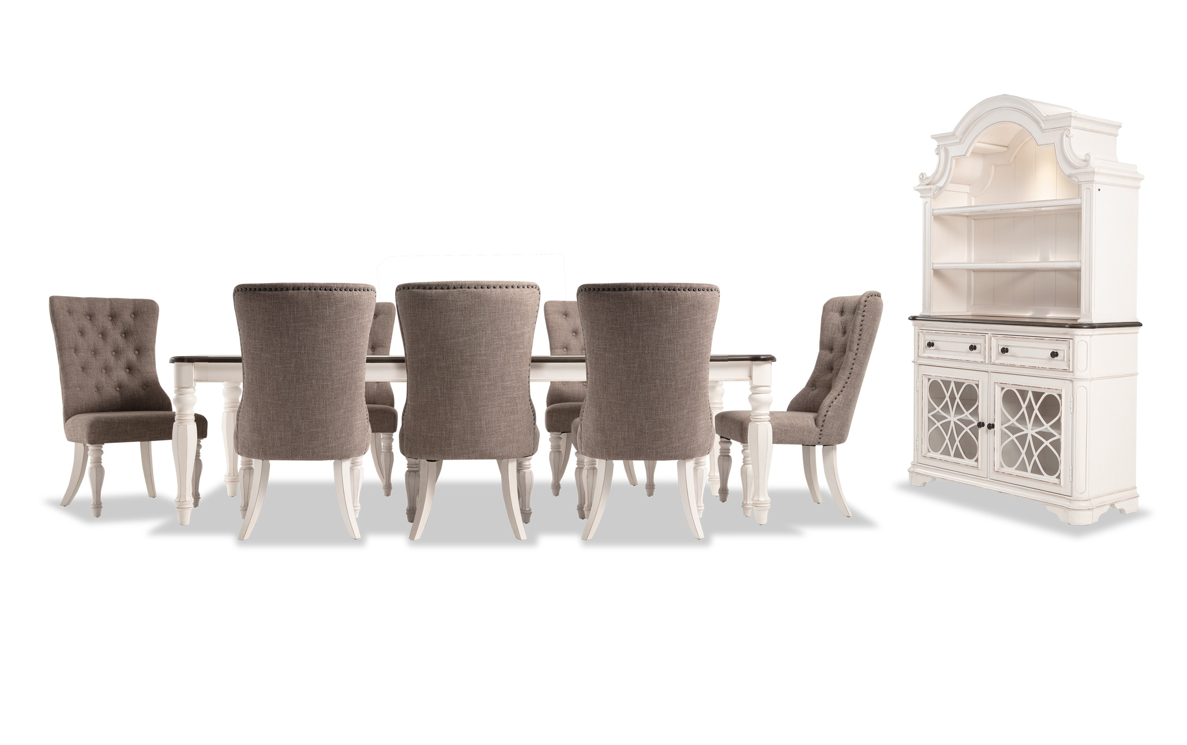 Picture of: Scarlett 10 Piece Dining Set With China Upholstered Host Chairs Bobs Com