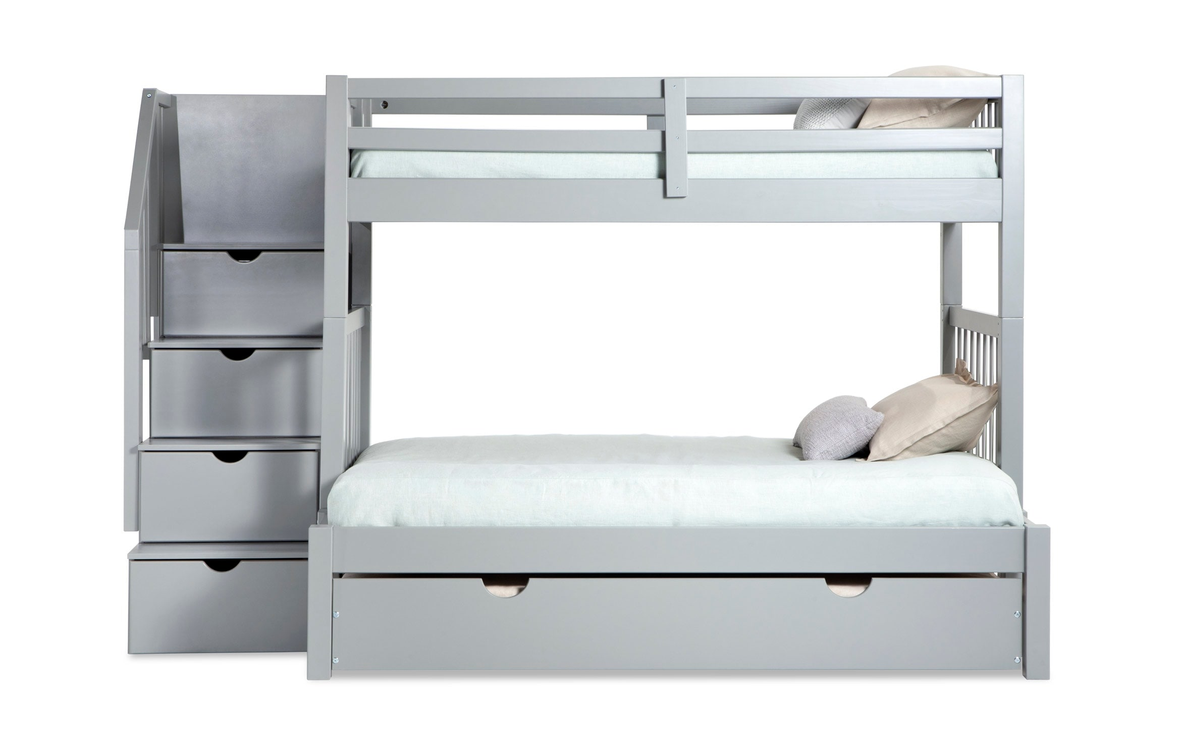 Picture of: Keystone Stairway Twin Full Gray Bunk Bed With Storage Trundle Unit Bobs Com
