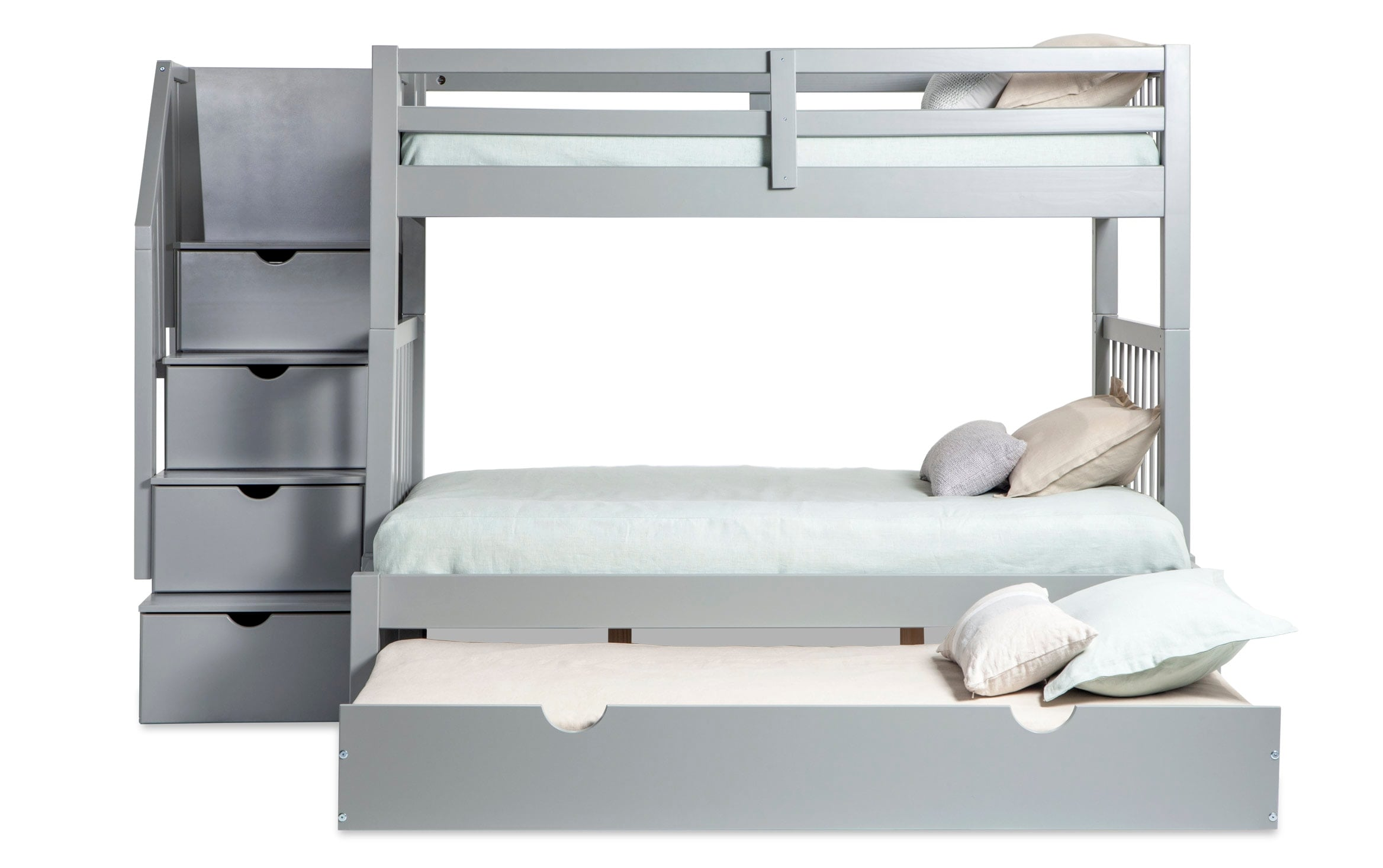 Keystone Stairway Twin Full Gray Bunk Bed With Storage Trundle Unit Bobs Com