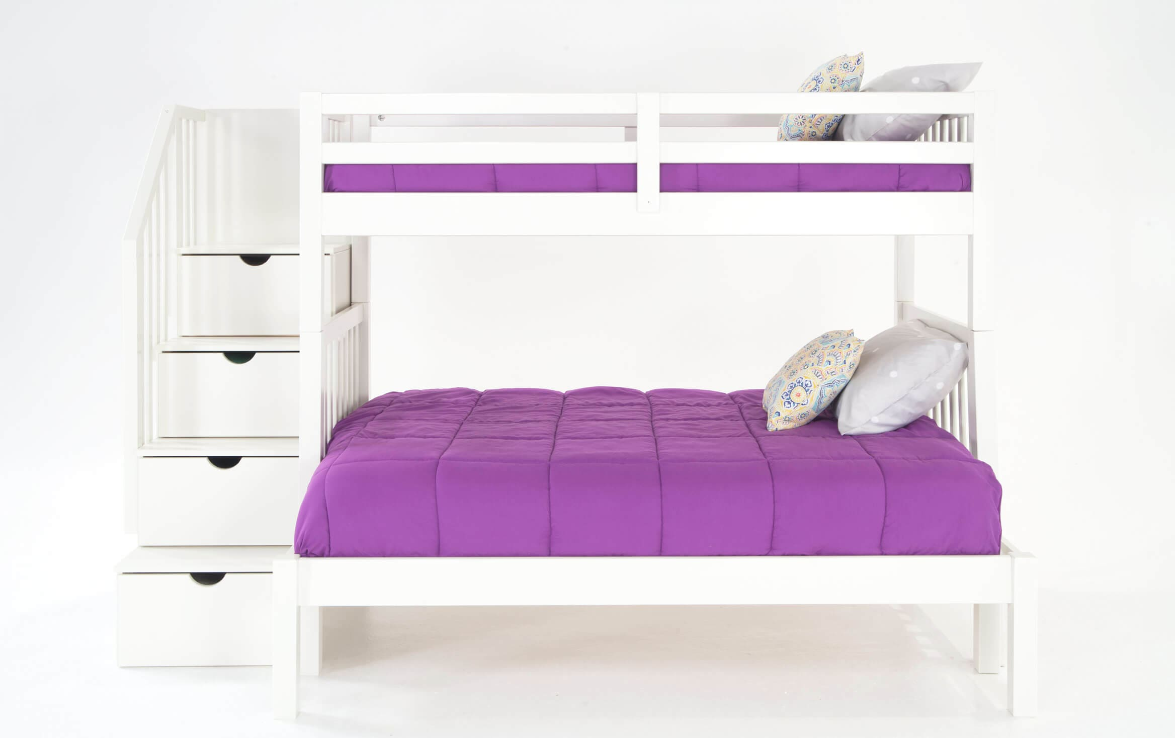 Keystone Stairway Twin Full White Bunk Bed Bobs Com