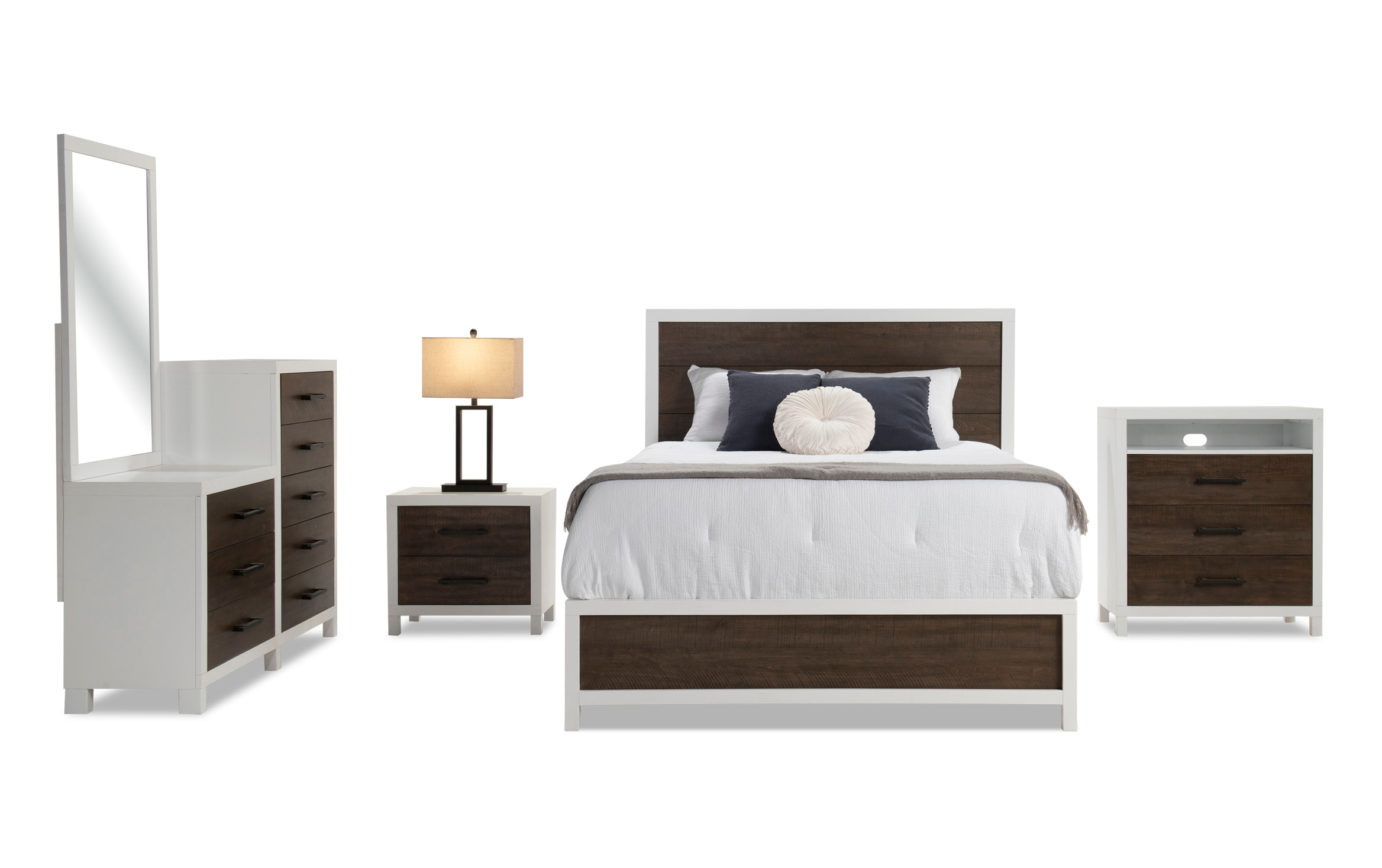 Fusion Queen White Brown Bedroom Set Bobs Com