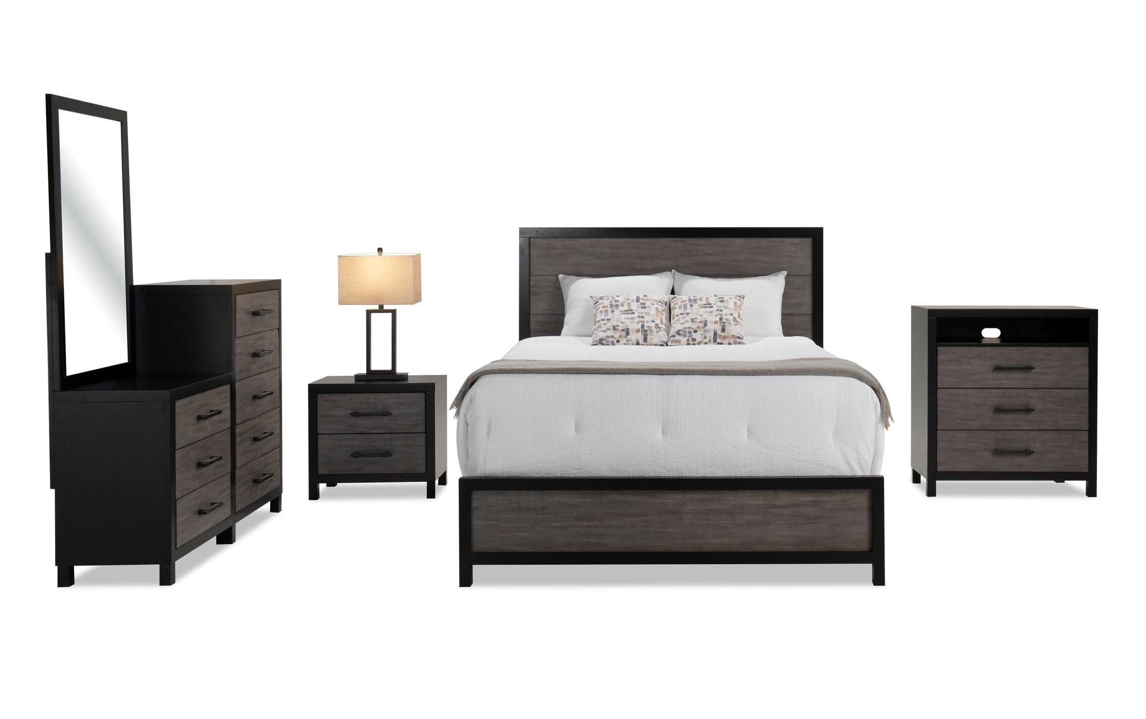 Fusion Queen Black Gray Bedroom Set Bobs Com