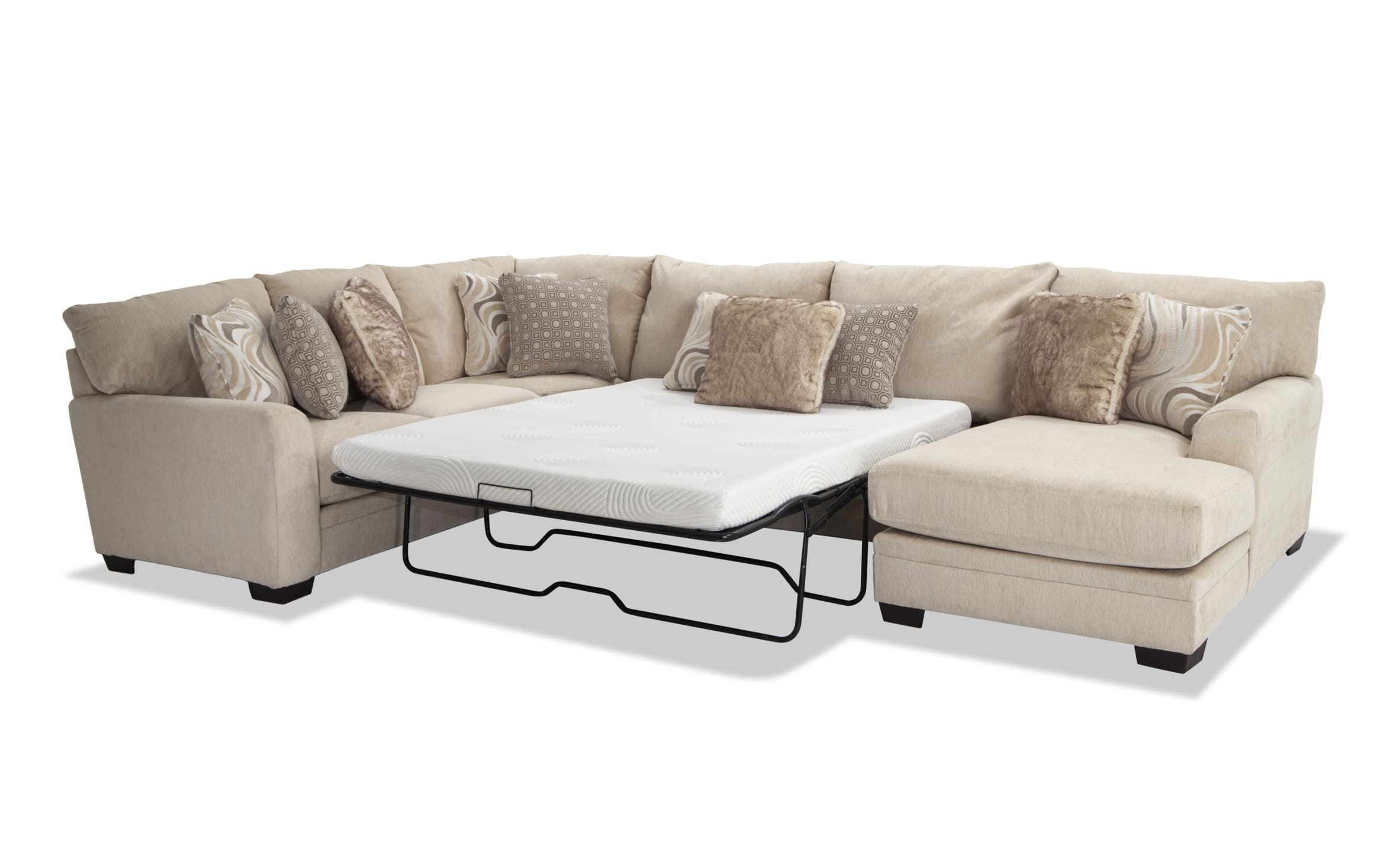 Picture of: Luxe Cream 4 Piece Left Arm Facing Bob O Pedic Gel Queen Sleeper Sectional With Chaise Bobs Com