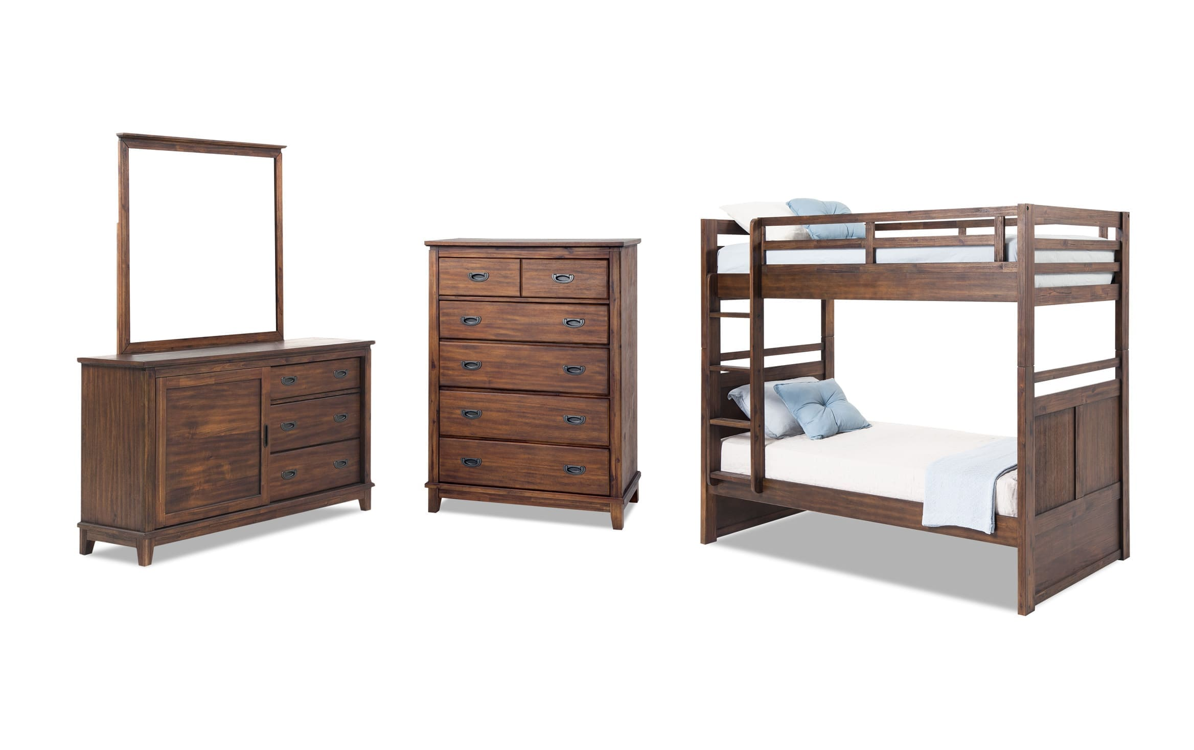 Chadwick Twin Wirebrush Bunk Bed Bedroom Set Bobs Com