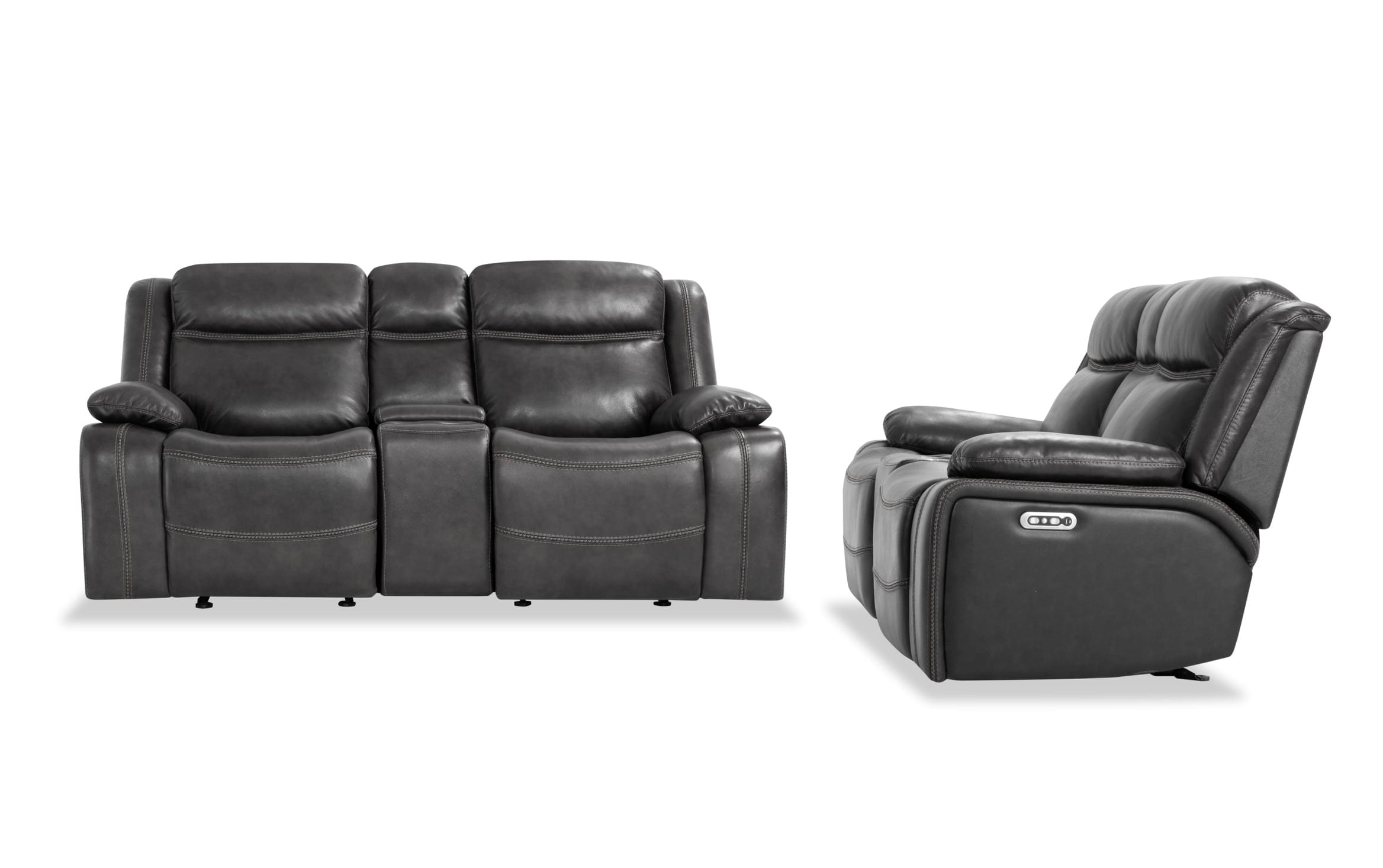 Picture of: Trailblazer Gray Leather Power Reclining Console Loveseat Set Bobs Com
