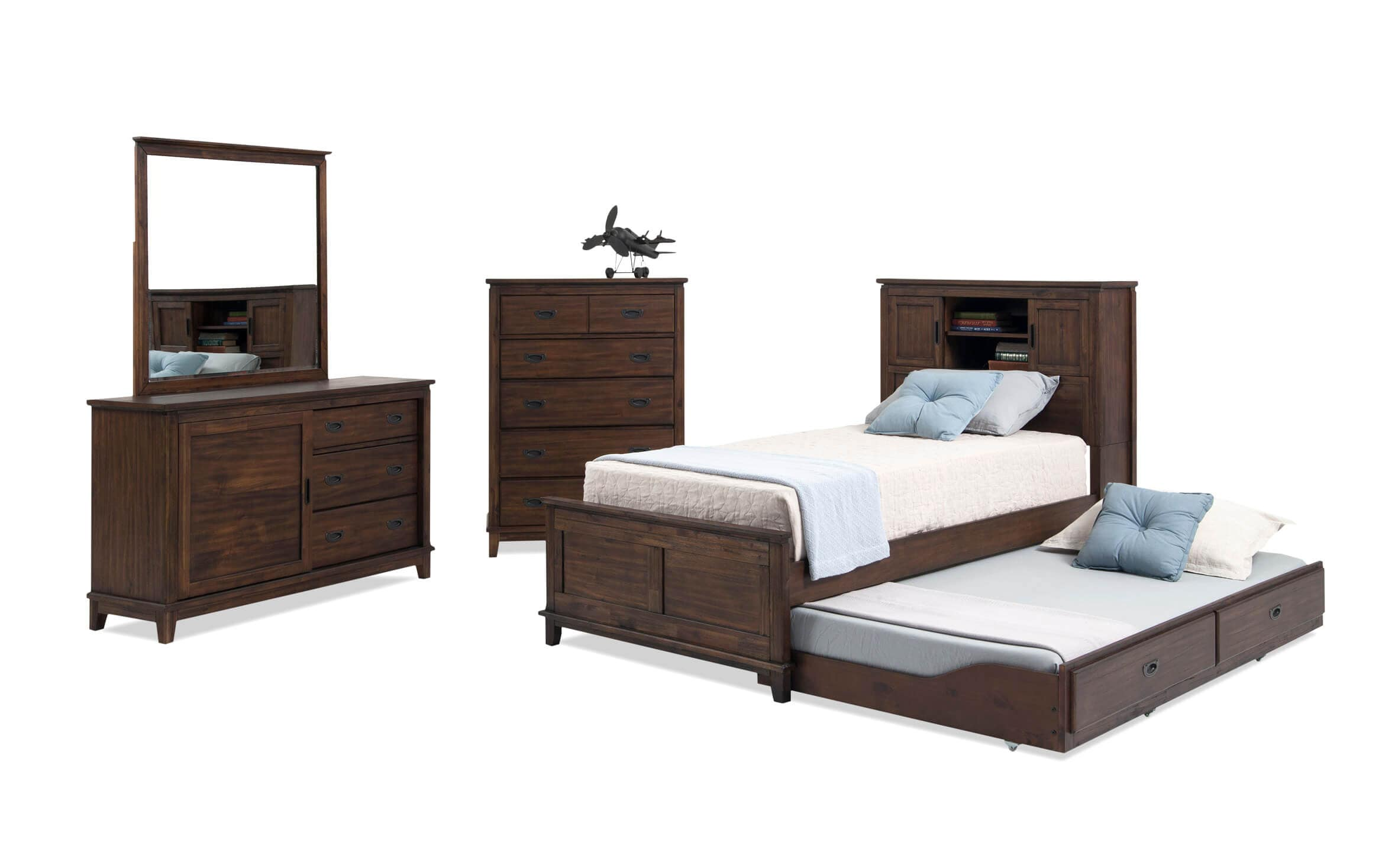 Chadwick Full Rustic Trundle Bedroom Set With Bookcase Bed Bobs Com