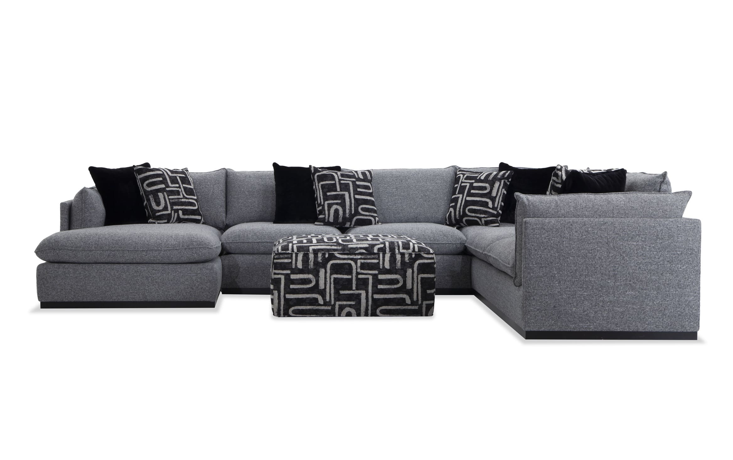 Mirage Gray 4 Piece Right Arm Facing Sectional with Ottoman