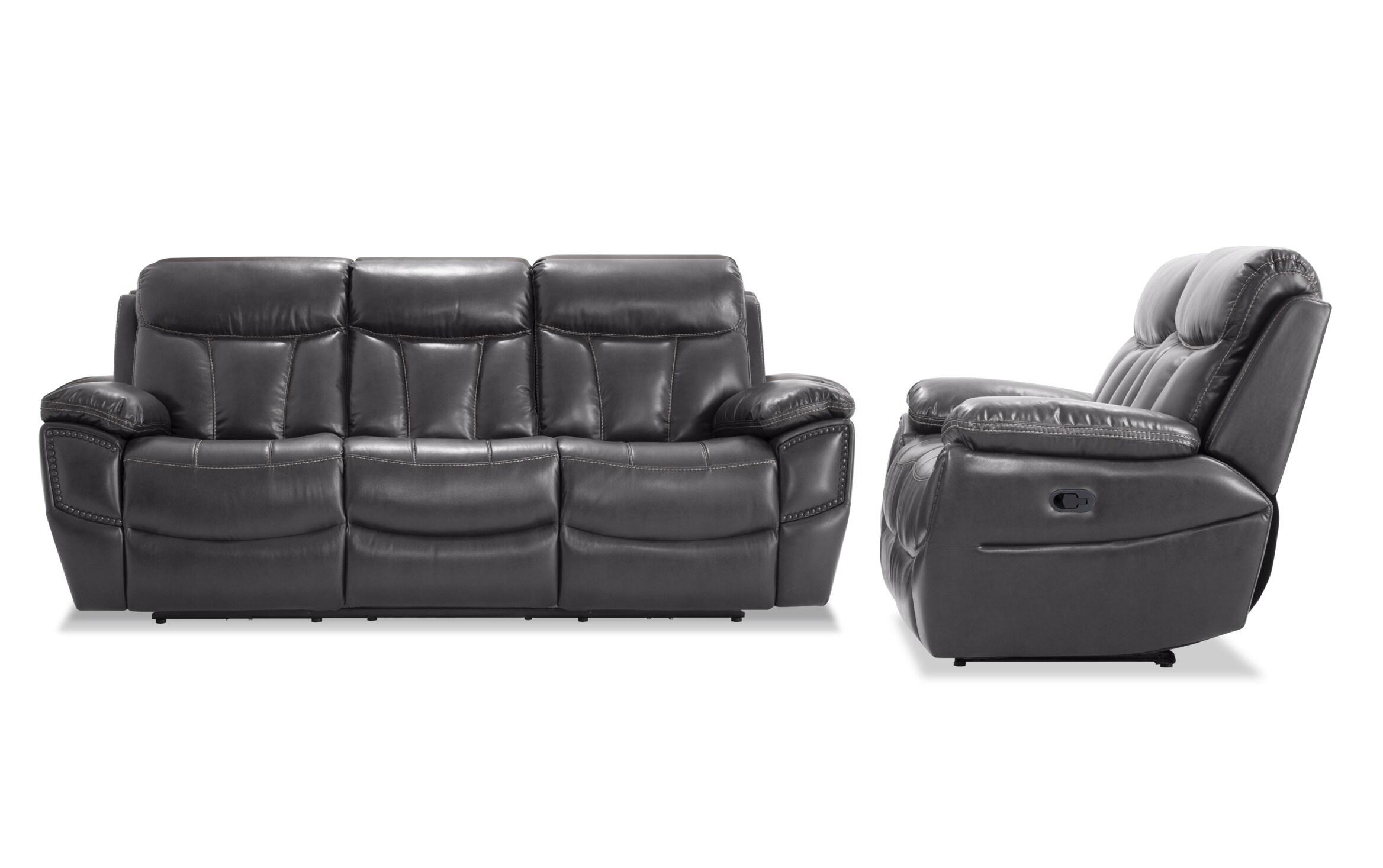 Aviator Gray Manual Sofa Loveseat Bob S Discount Furniture
