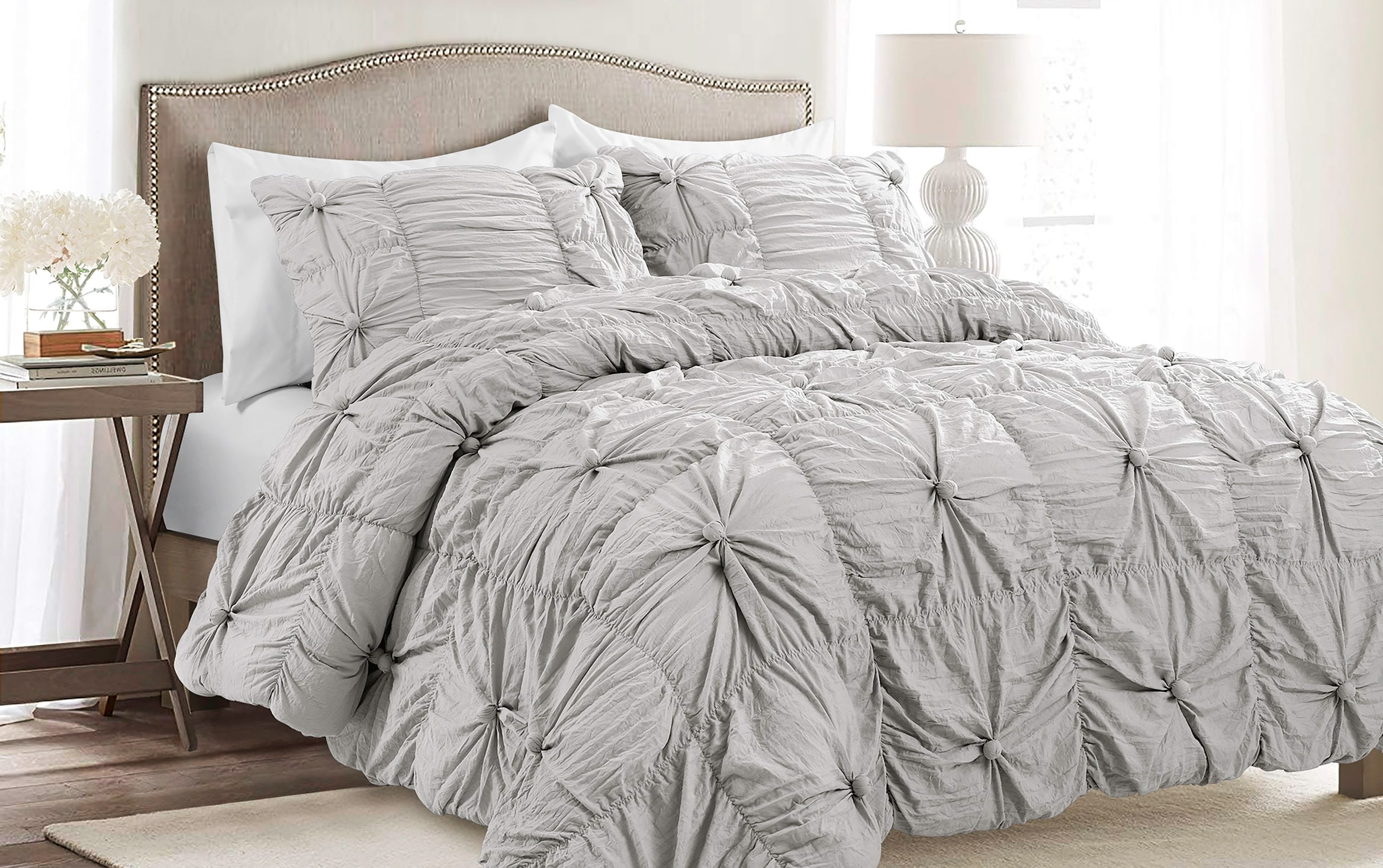 Belle 3 Piece Full Queen Light Gray Comforter Set Bobs Com
