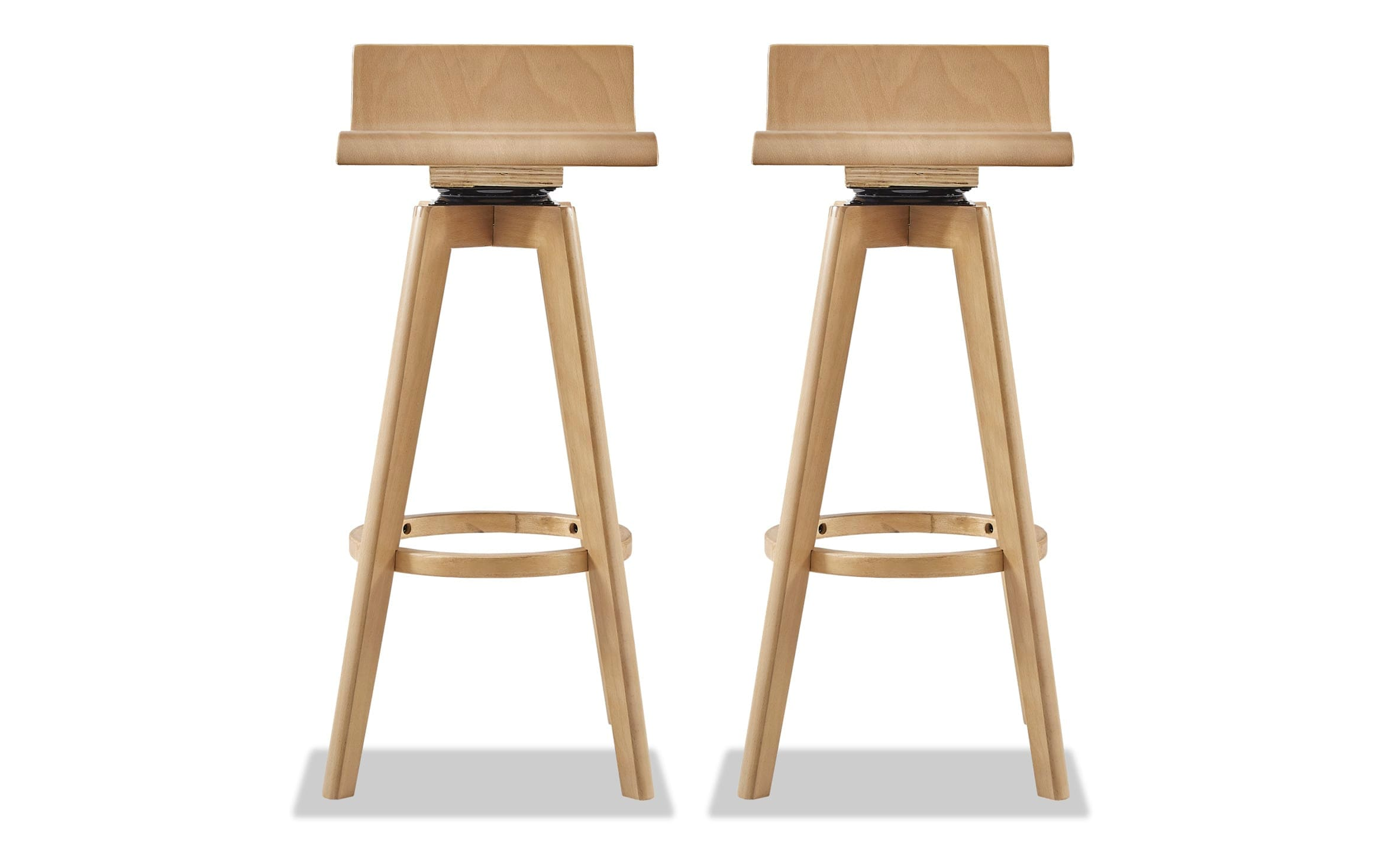 Set Of 2 Midi Natural Swivel Bar Stools | Bobs.com