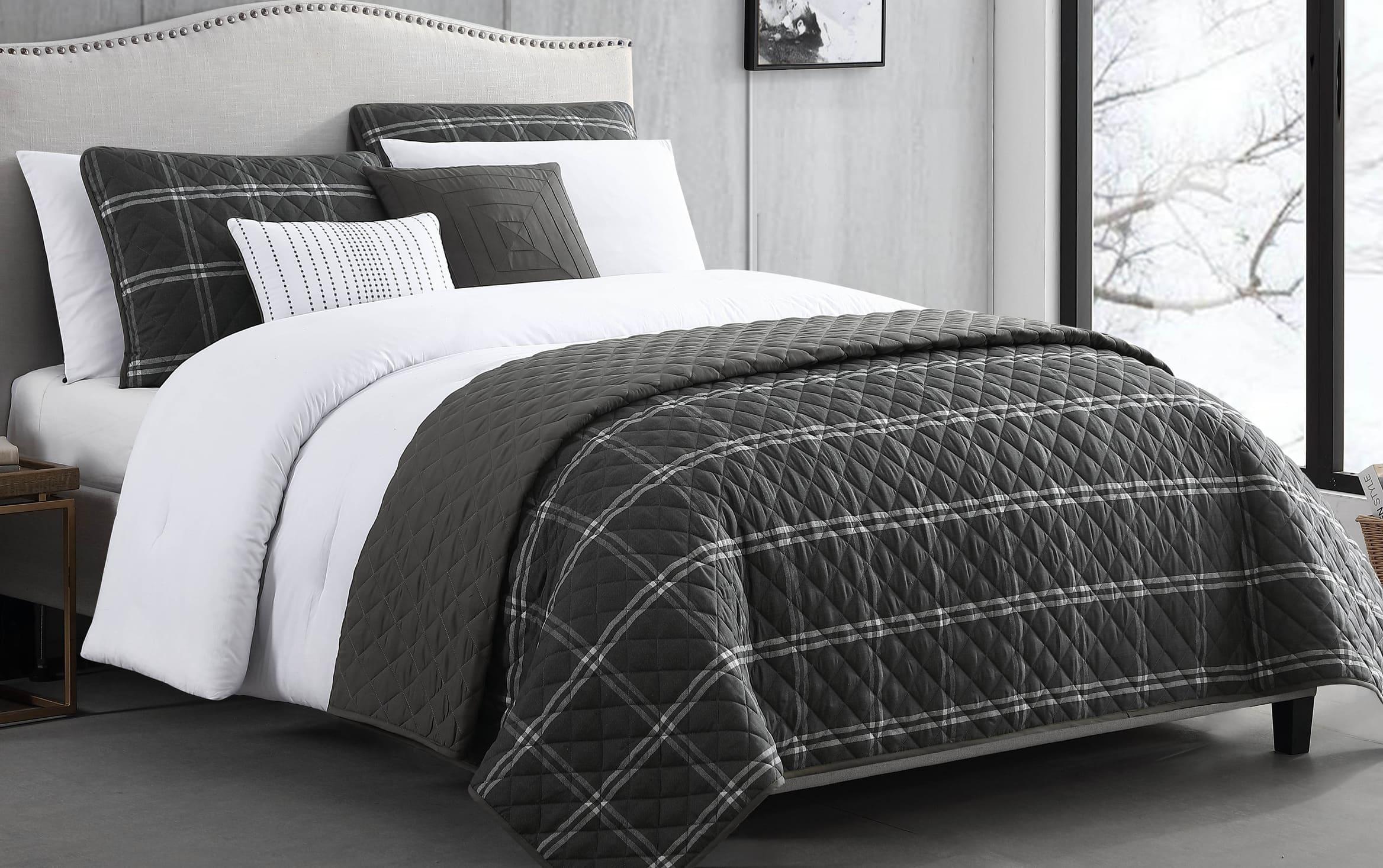 Kent 8 Piece Full Queen Black Comforter Set Bobs Com