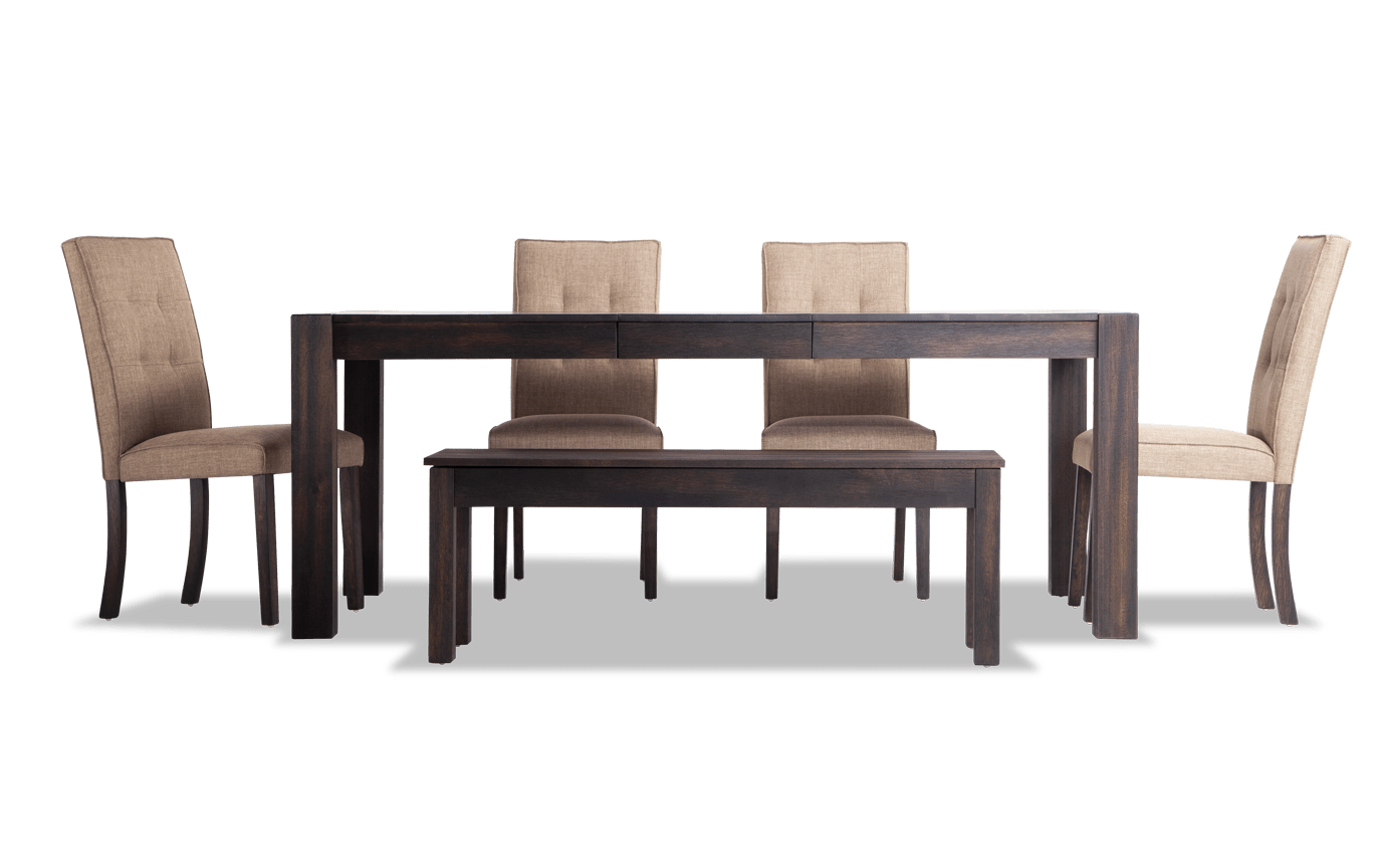 """Summit Wire Brush 42"""" x 78"""" 6 Piece Dining Set With Upholstered Chairs"""