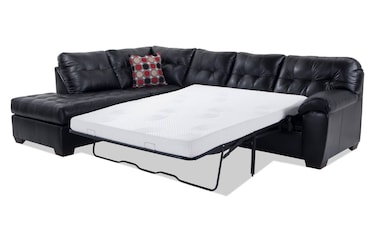 Mercury Black Bob O Pedic Gel Right Arm Facing Queen Sleeper Sectional  Product Image