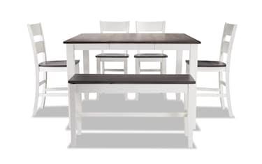 Blake Gray White 6 Piece Dining Set With Storage Bench Bob S Discount Furniture