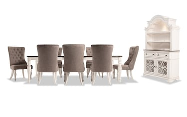 Scarlett 10 Piece Dining Set With China U0026 Upholstered Host Chairs Product  Image