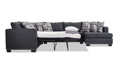 Incredible Ashton Charcoal 3 Piece Bob O Pedic Gel Sleeper Sectional Caraccident5 Cool Chair Designs And Ideas Caraccident5Info