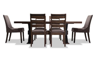 Lennox 6 Piece Dining Set With Bench Ladder Back Chairs Bob S Discount Furniture