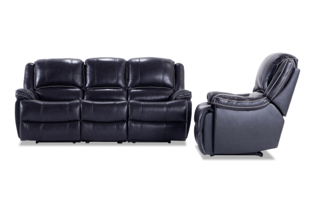 Phoenix Black Leather Power Reclining Sofa and Recliner