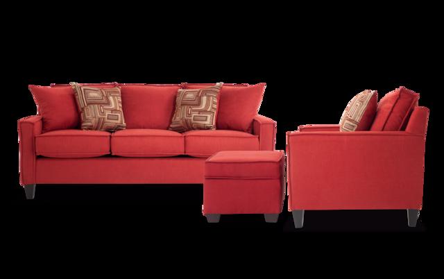 Jessie 88\'\' Gray Sofa, Chair & Storage Ottoman