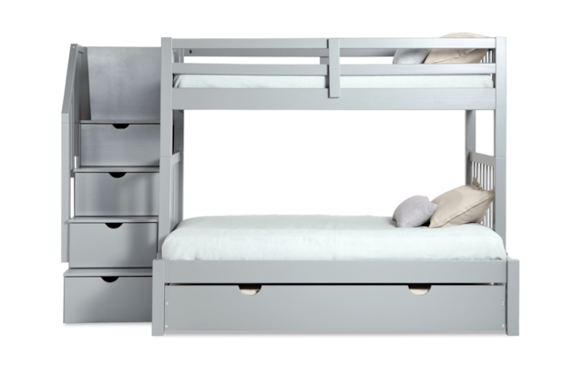 Keystone Stairway Twin Full Gray Bunk Bed With Storage Trundle Unit Bob S Discount Furniture