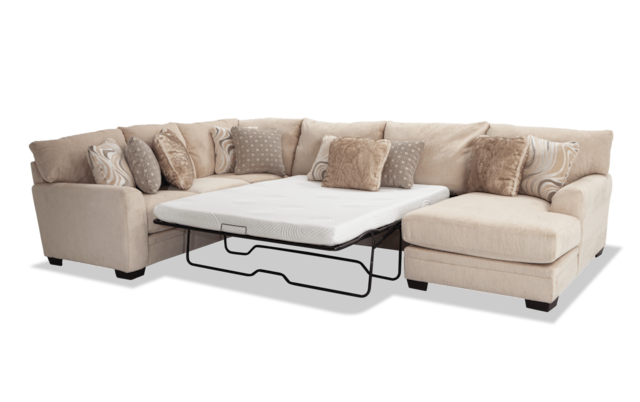 Gel Queen Sleeper Sectional With Chaise, Cream Sleeper Sofa With Chaise