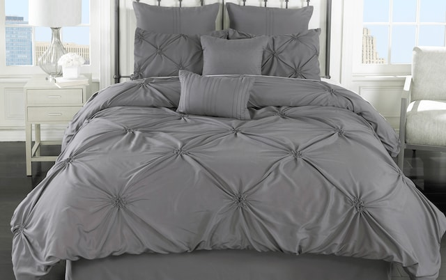 Milne Gray 8 Piece Queen Comforter Set