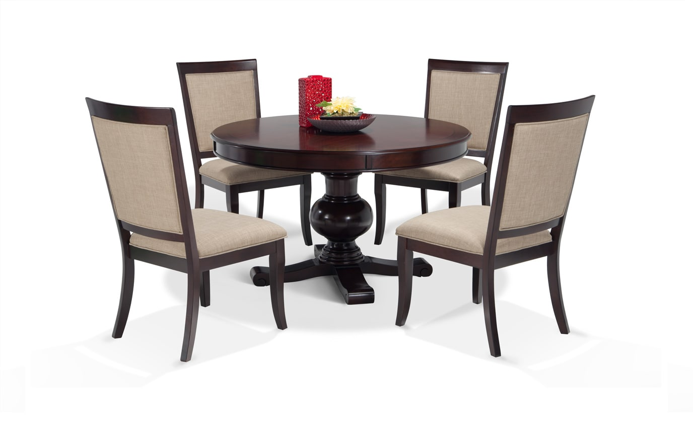 Superb Gatsby Round Cherry 5 Piece Dining Set With Side Chairs Camellatalisay Diy Chair Ideas Camellatalisaycom