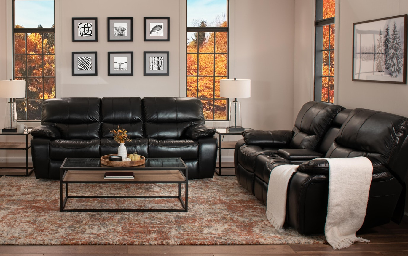 Awe Inspiring Avenger Black Power Reclining Console Loveseat Ocoug Best Dining Table And Chair Ideas Images Ocougorg