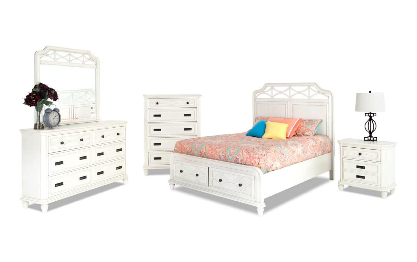 Mystic Bay Full White Storage Bedroom Set
