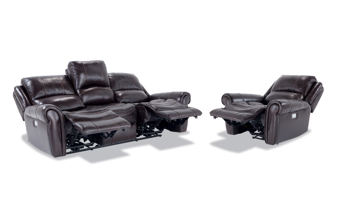 Bennett Leather Power Reclining Sofa & Power Recliner