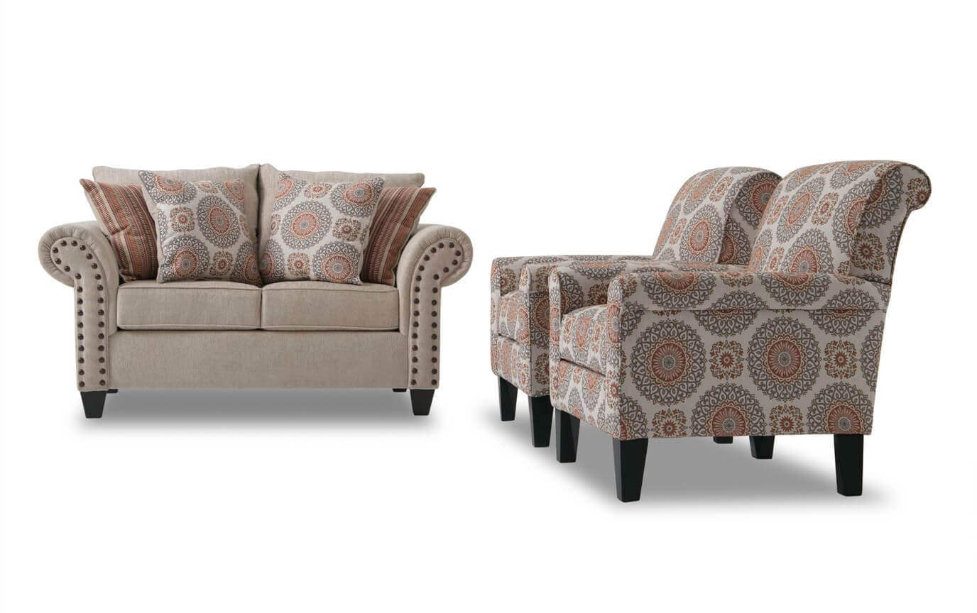 Tremendous Artisan Beige Loveseat 2 Accent Chairs Ibusinesslaw Wood Chair Design Ideas Ibusinesslaworg