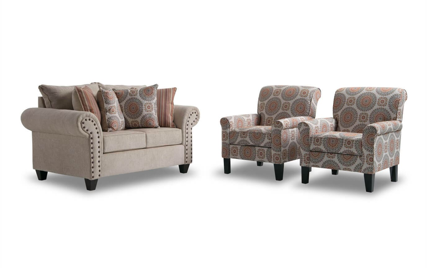 Sensational Artisan Beige Loveseat 2 Accent Chairs Pdpeps Interior Chair Design Pdpepsorg